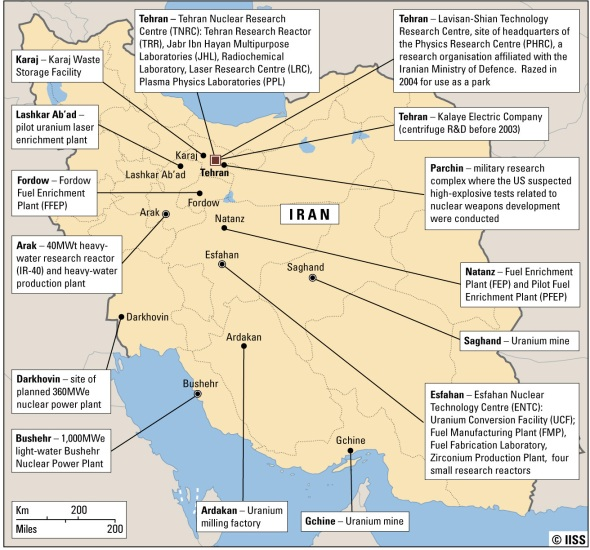Map of Iran nuclear sites © IISS. Click for larger view
