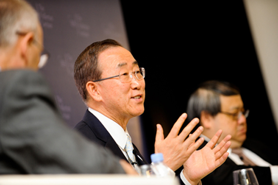 Ban Ki-moon takes questions after the inaugural Fullerton Lecture. Photo IISS/Sam Toh