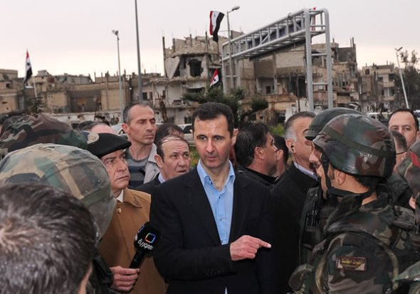 President Bashar al-Assad in Homs. Photo SANA