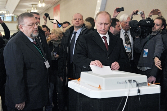 Vladimir Putin voting in the Russian presidential elections. Photo: Government of the Russian Federation