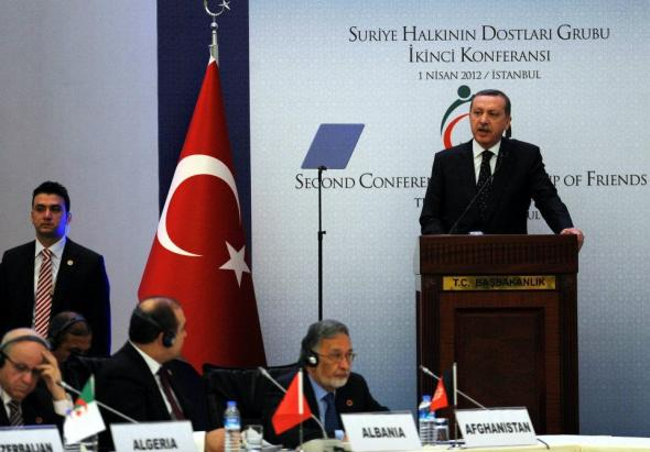 Turkish PM Erdogan speaks at Friends of Syria meeting, Istanbul. Photo: Turkish Foreign Ministry