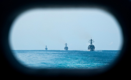 US navy ships in the South China Sea. US Navy photo by Mass Communication Specialist 3rd Class Kenneth Abbate/Released