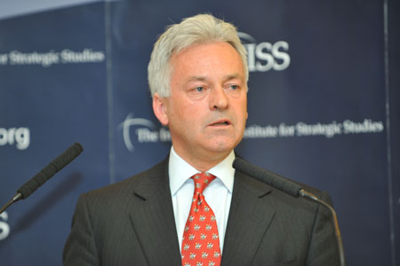 Alan Duncan speaks at the IISS, 17 May. Photo IISS