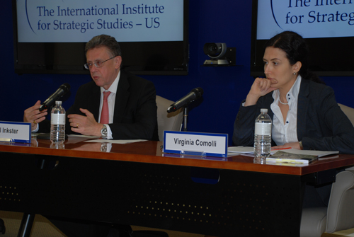Nigel Inkster and Virginia Comolli at the US launch of Drugs, Insecurity, Failed States