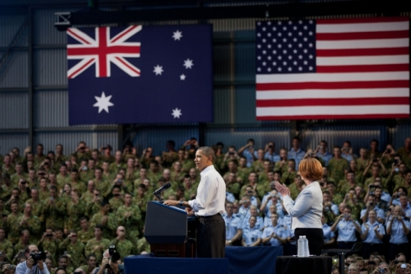 President Barack Obama and Prime Minister Julia Gillard before soldiers and guests at the Royal Army Air Force Base in Darwin, Australia, Nov.17, 2011. (Official White House Photo by Pete Souza)