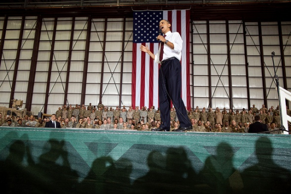 President Barack Obama delivers remarks to U.S. troops at Bagram Air Field, Afghanistan, May 1, 2012. (Official White House Photo by Pete Souza)