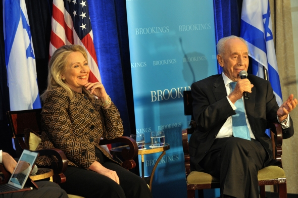U.S. Secretary of State Hillary Rodham Clinton participates in a joint discussion with Israeli President Shimon Peres hosted by The Brookings Institution in Washington, D.C. on June 12, 2012. [State Department photo/ Public Domain]