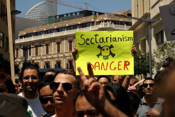 Lebanese protesters warn of the dangers of sectarianism.. Photo from the Lebanese Laique Pride Group