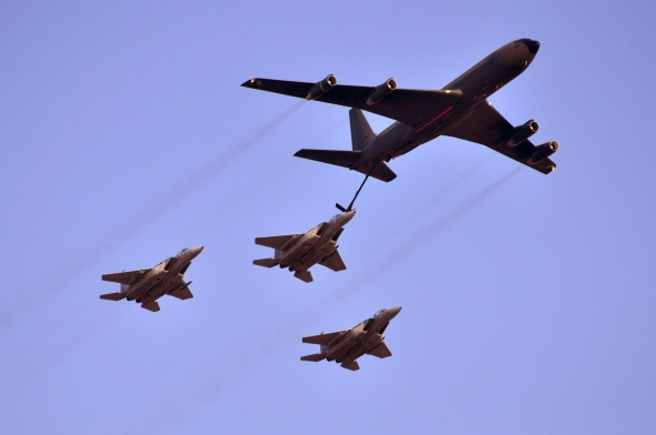 A Boeing 707 aerially refuels three F-15 Eagles. Photography: Yonatan Zalk,  Israeli Air force
