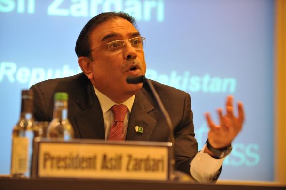 President Asif Ali Zardari speaks at the IISS. Photo IISS