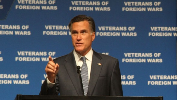 Mitt Romney speaks at the Veterans of Foreign Wars National Convention