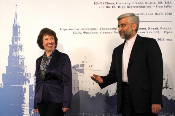 Saeed Jalili, of Iran's Supreme National Security Council and P5+1 chief nuclear negotiator Catherine Ashton at talks in Moscow in June