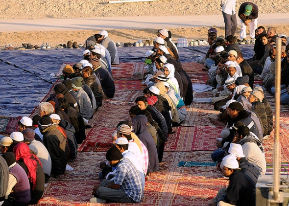Muslims from throughout the world gather at Kandahar Airfield, Afghanistan, Nov. 16, for the start of Eid al-Adha, a religious holiday beginning after Hajj.