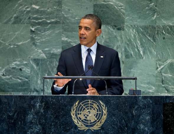 President Obama addresses the United Nations General Assembly. Photo Credit: UN