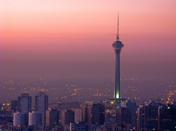 Tehran at sunrise, featuring the Miladi Tower.