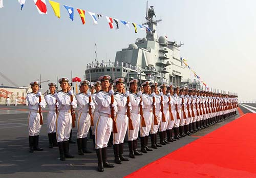 Sailors aboard China's new aircraft carrier Liaoning. Photo Xinhua