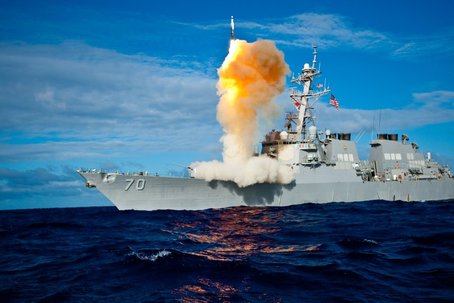 A Standard Missile - 3 (SM-3) is launched from the USS Hopper (DDG 70)