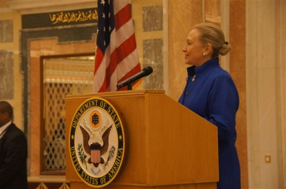 US Secretary of State Hilary Clinton visited Ridyah, Saudi Arabia for the inaugural meeting of the US–GCC Strategic Cooperation Forum in March 2012 (Photo: US State Dept)