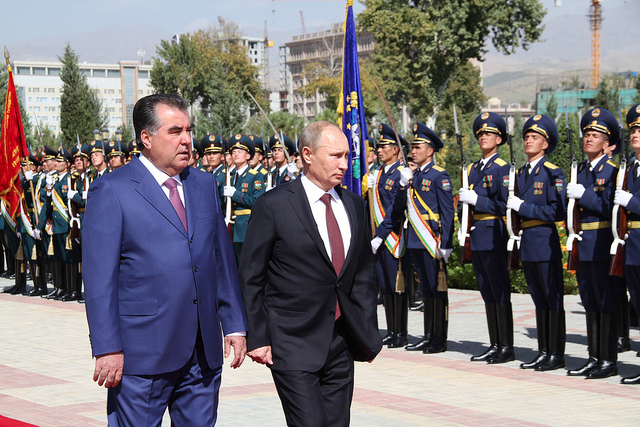 Putin in Tajikistan October 2012 Photo Хадамоти матбуот