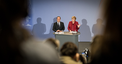 French President Francois Hollande and German Chancellor Angela Merkel hold at press conference in Berlin. Photo: Bundesregierung/Denzel