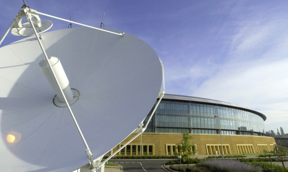 A satellite communications dish outside the UK Government Communications Headquarters (GCHQ) Photo MoD under an Open Government Licence