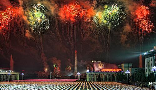 Fireworks over Pyongyang. Photo Korea Friendship Association