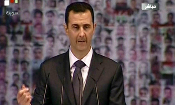 Bashar al-Assad addresses supporters in Damascus