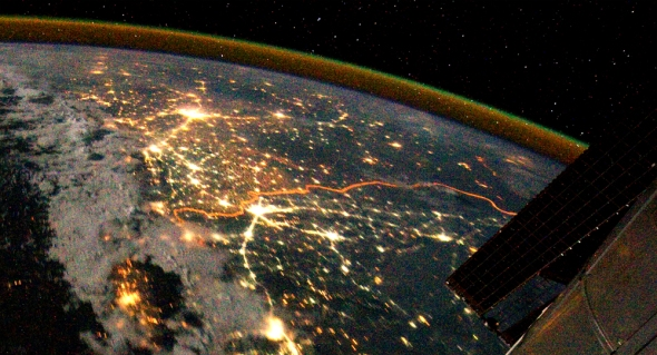 India-Pakistan border from space. Photo NASA