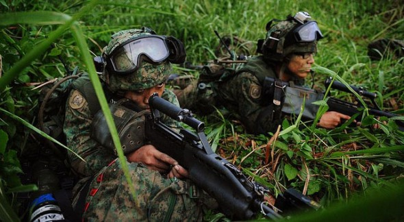 Singapore recruits during training Photo Cyberpioneer