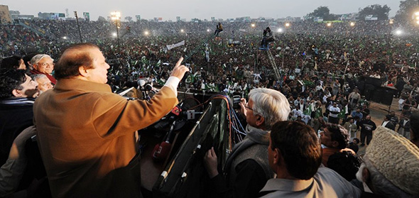 Nawaz Sharif addresses a rally on the campaign trail to becoming PM Photo PLMN