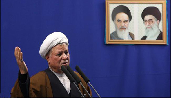 Rafsanjani with Khomenei and Khamenei in background